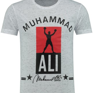 Oxcid Muhammad Ali trendy regulair fit ronde hals heren T-Shirt - B771 Wit