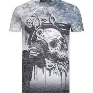 Cipo & Baxx trendy allover print modern fit heren skull T-Shirt - C438 Grijs