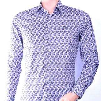 Ferlucci trendy heren overhemd met allover modern print, F041 Grijs
