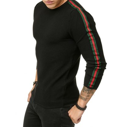 Red Bridge trendy rondehals dunne heren pullover, R387 Zwart
