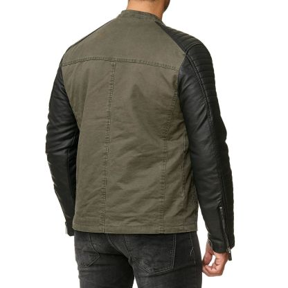 Red Bridge trendy lederlook heren bikerjack - R451 Khaki
