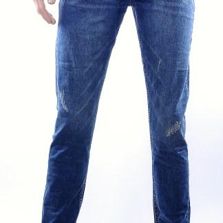 Serseri trendy damaged heren skinny jeans, S305 Blauw