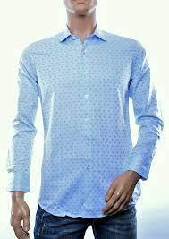 Barbons trendy modern fit allover funky dessin heren overhemd, B901 Blauw
