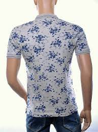 Casuci trendy allover bloemen dessin heren Polo T-Shirt, C021 Beige