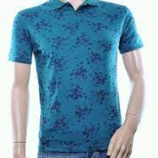 Casuci trendy allover bloemen dessin heren Polo T-Shirt, C021 Groen
