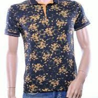 Casuci trendy allover bloemen dessin heren Polo T-Shirt, C021 Zwart