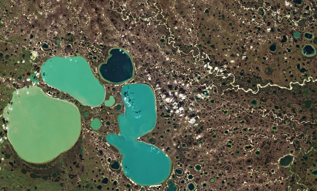 Ponds resulting from thawing permafrost in the Yamal Peninsula in northwest Siberia