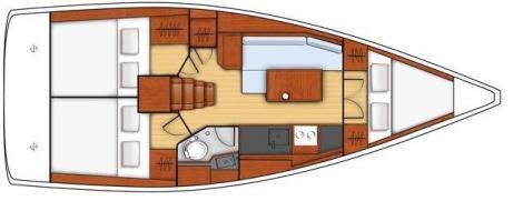 Planta baixa para o interior do barco charter com o capitao Beneteau Oceanis 351 Ibiza