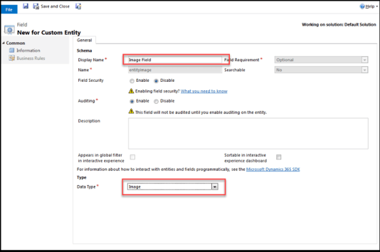 Create an Image Field on an Entity in Dynamics 365 CRM | Charter Global
