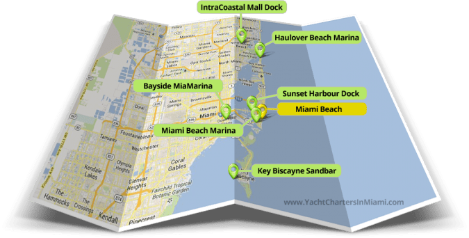 Marina Locations Map For Yacht Charters In Miami