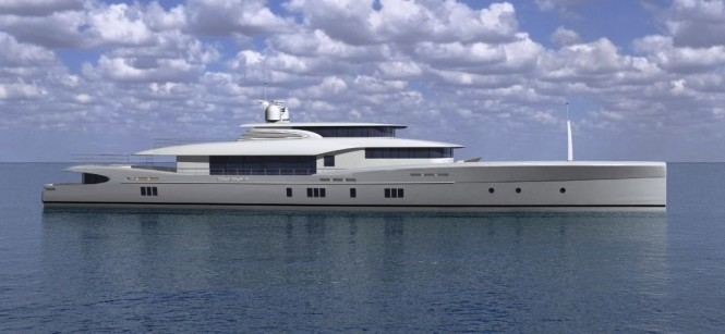 Sencora 52M superyacht rendering profile by SENCORA Yachts and Bill Dixon Design