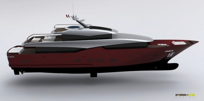42m Blue Navy motor yacht concept by UKI Design