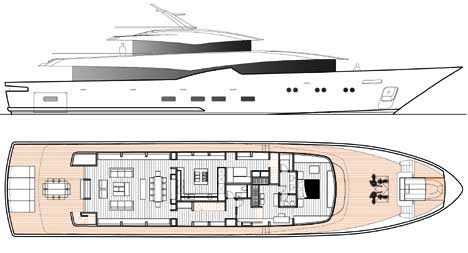 Layout of the 42m Blue Navy motor yacht concept by UKI Design.