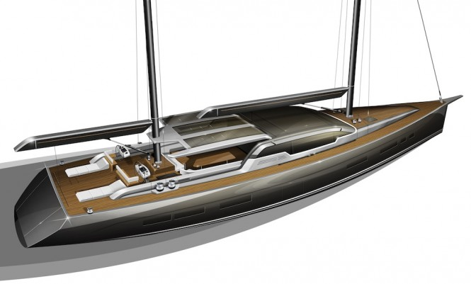 Rendering of the 35m Tony Castro sailing yacht - aft view