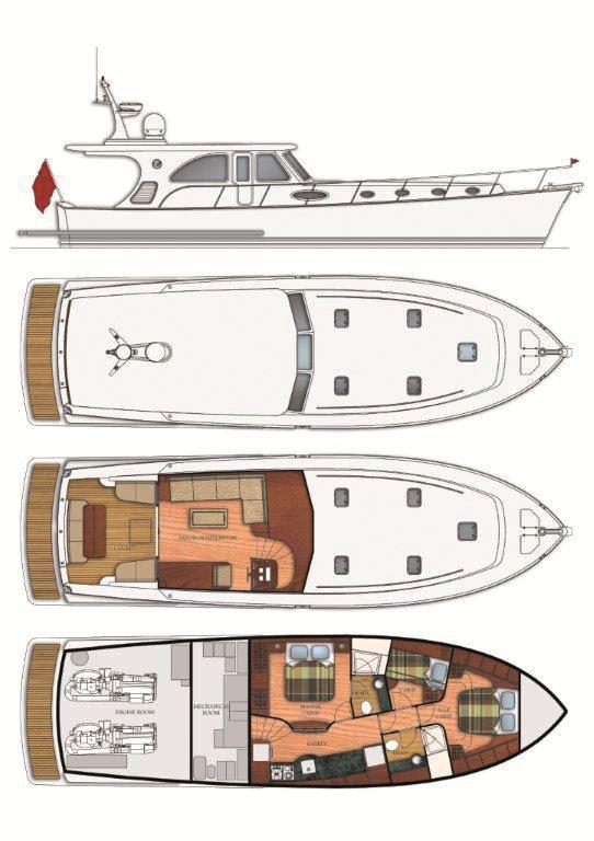 Layout Of The NEW 61 Bahama Bay Motor Yacht By Vicem Yachts