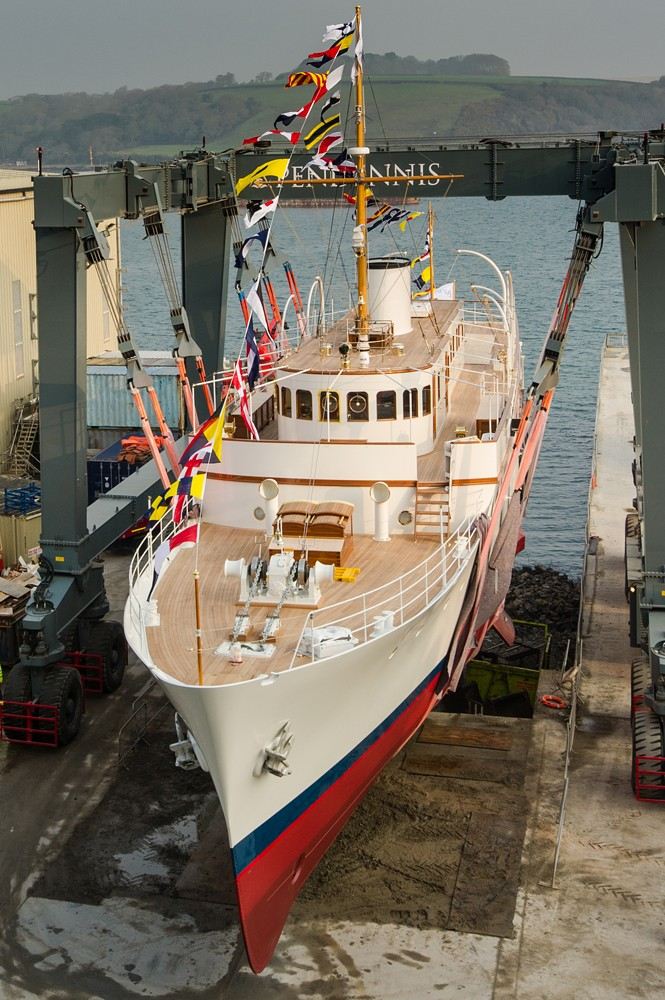 Re Launch Of 50m Classic Motor Yacht MALAHNE At Pendennis