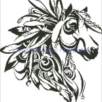 Feathered Horse Silhouette Ss0279 8 00 Usd Charting Creations Unique Counted Cross Stitch Patterns And Kits