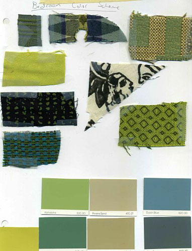 Fabric and paint swatches for my bedroom