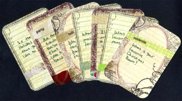 The front sides of some of the Christmas journaling cards.