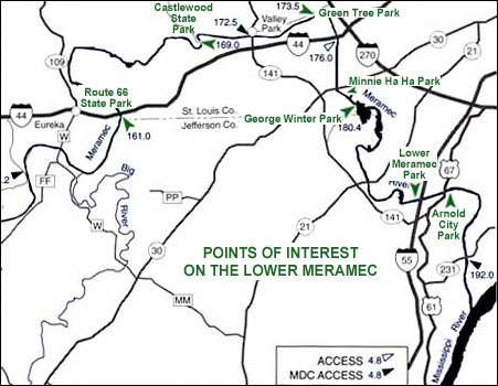 Points of interest on the Lower Meramec River