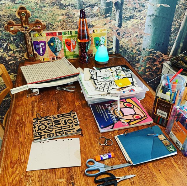 Our kitchen table set up for art fun