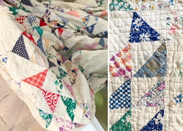 Old quilt my Dad gave me, being washed on the left and after washing on the right.