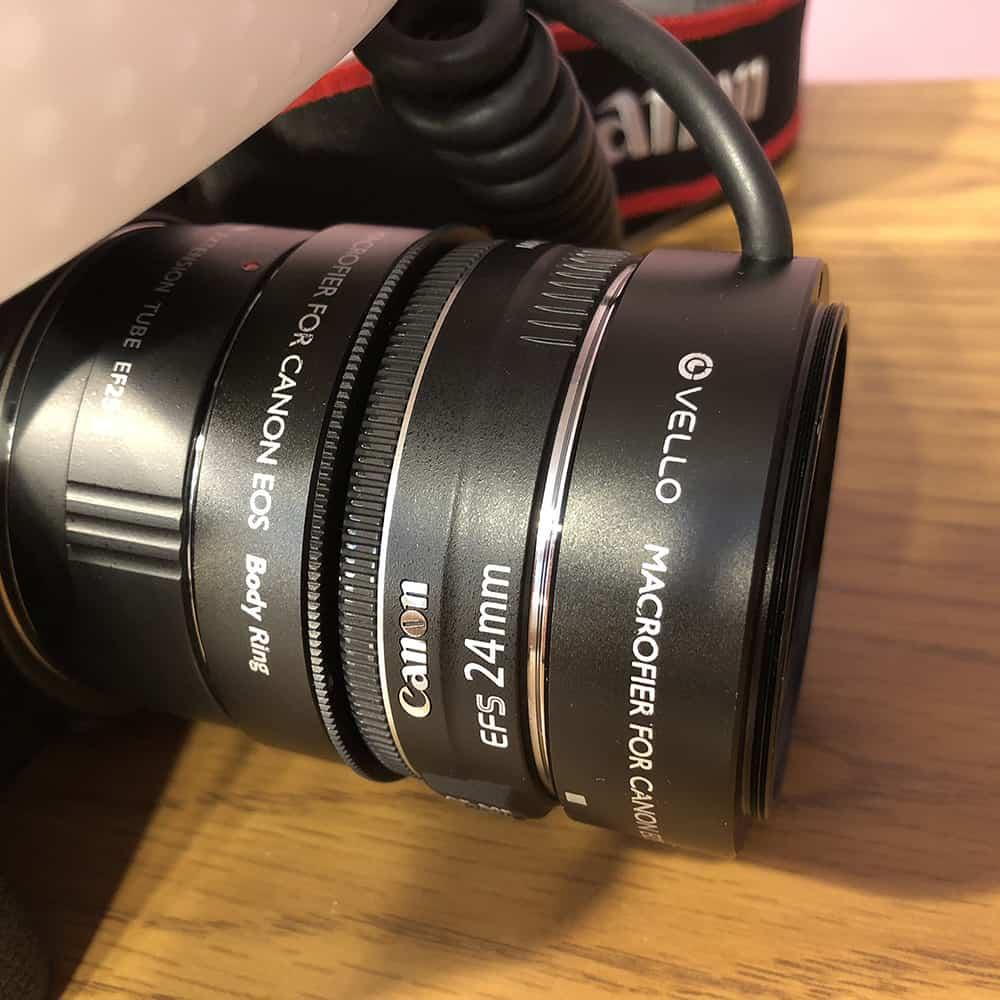 Reverse lens camera setup for snowflake photography