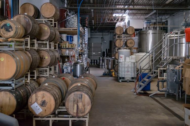 Barrels at Bent Brewstillery - a brewery and a distillery that calls Roseville home