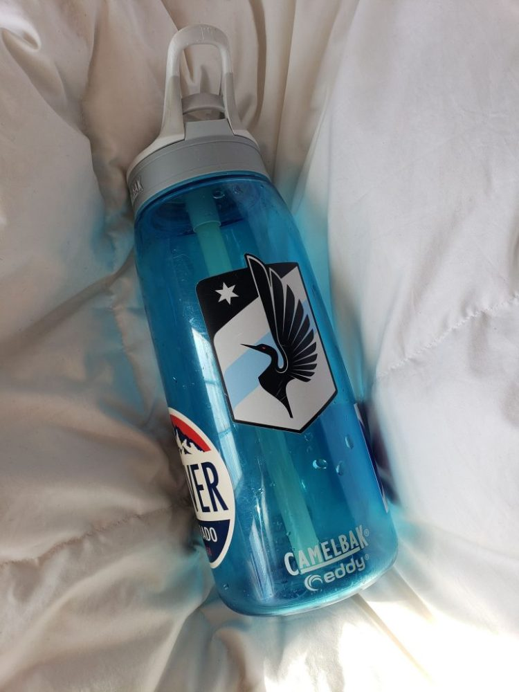 Camelbak waterbottle with Minnesota United Football Club Loons sticker