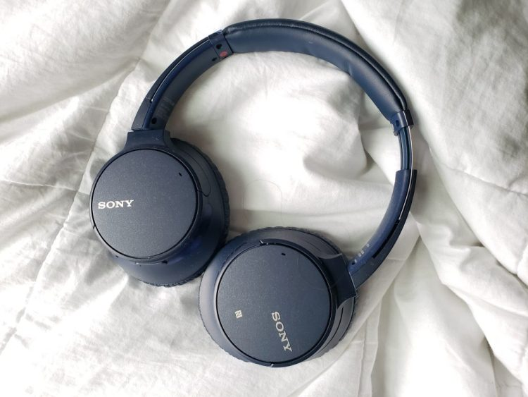 Navy blue over ear headphones