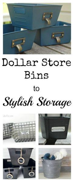 Dollar Store Bins to Stylish Storage