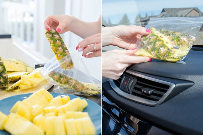 Pineapple skins in a ziplock bag to freshen up a car's smell