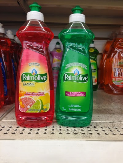 Palmolive dish soap being sold in a dollar store.