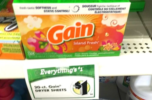 Gain dryer sheets for sale in a dollar store.