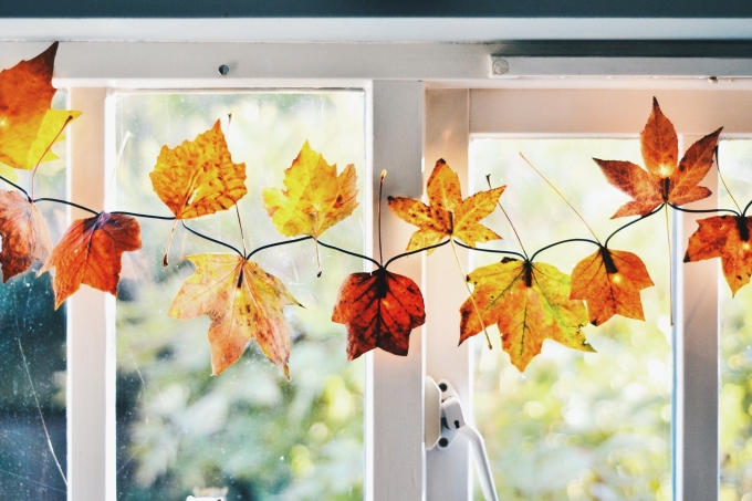 Autumnal leaves wrapped around fairy lights running across a window pane.