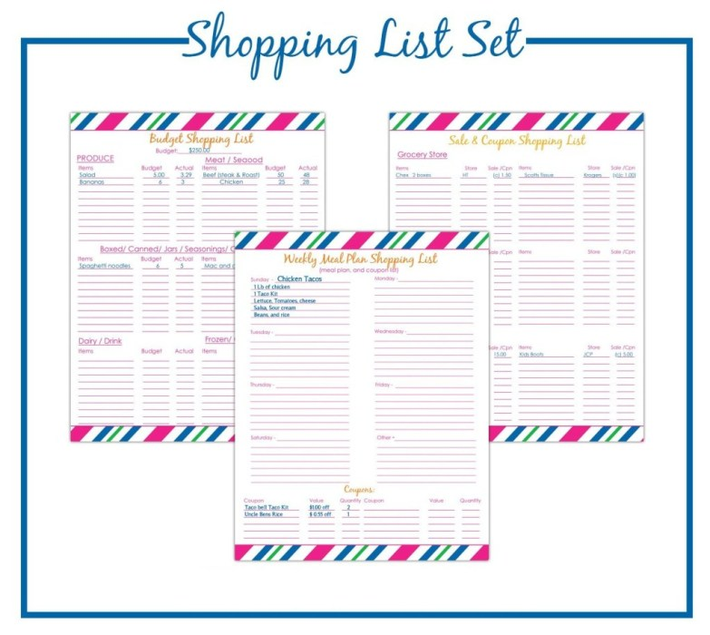 Printable Budget Shopping List Set