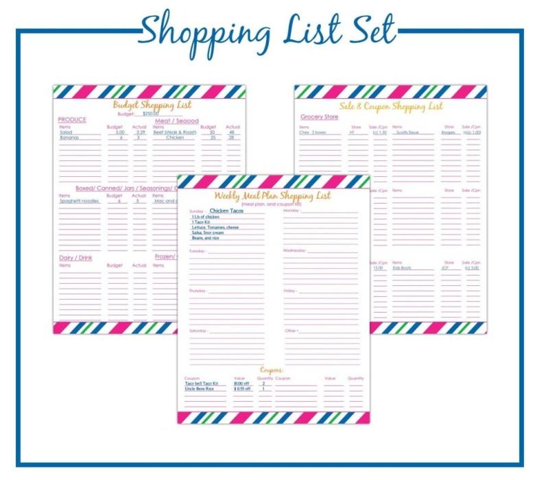 Printable Budget Shopping List Set