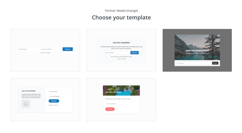 Choosing a form template in ConvertKit