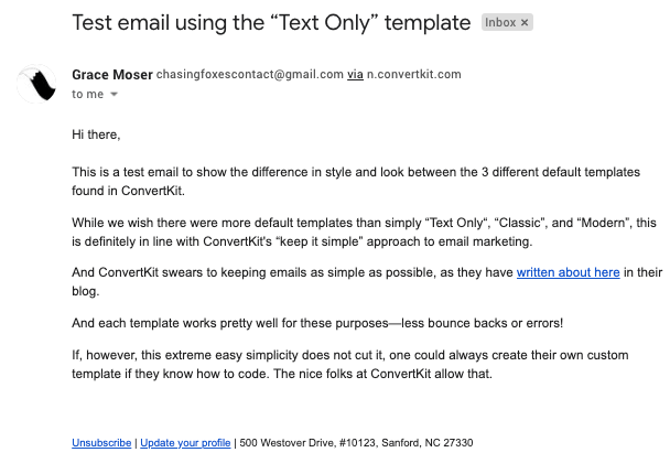 """A test email sent with ConvertKit showing the """"Text Only"""" template"""