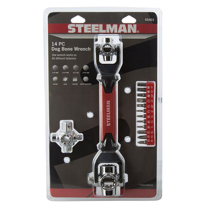 STEELMAN 55401 Multi-Drive Dog Bone Wrench with 12 bits, 1/4