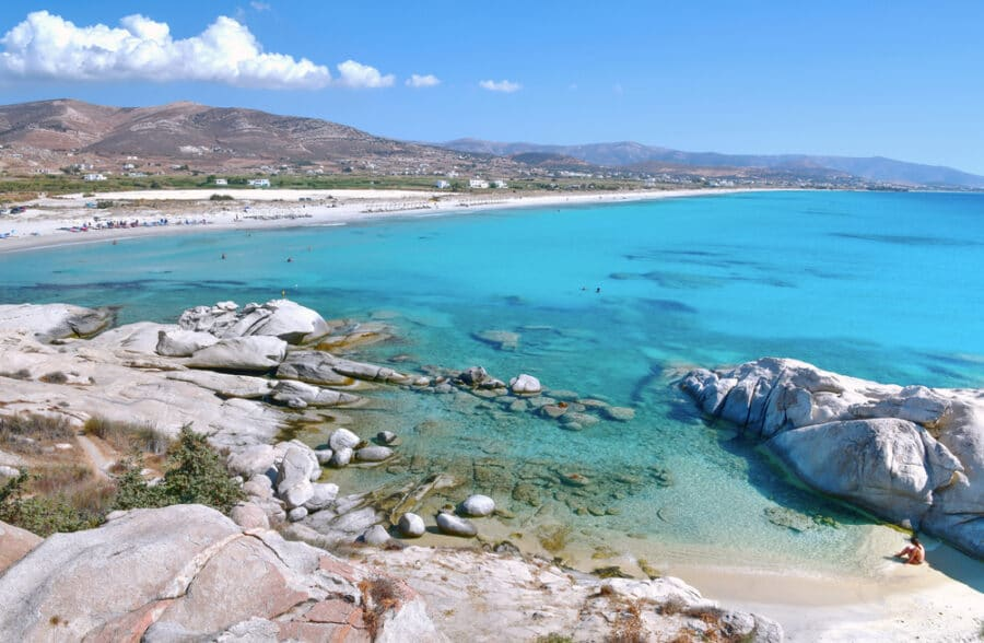 Naxos Island Guide - A beautiful beach with turquoise water on the coast of Naxos Island