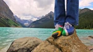 These Rainbow Nation takkies made it to Lake Louise