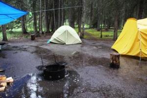 A sodden camp