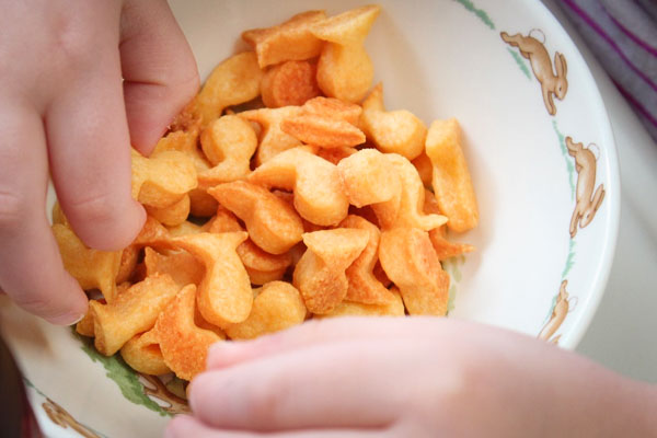 Homemade cheddar goldfish crackers