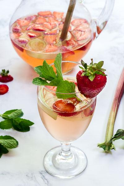 Sparkling Strawberry-Rhubarb Rosé