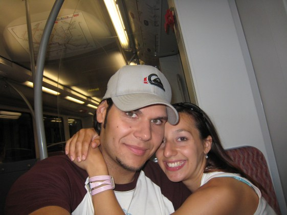 Our first train ride together in Germany
