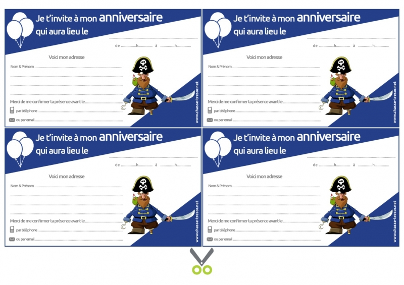 invitations anniversaire a imprimer des 7 pirates