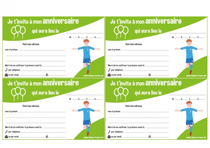 invitations a imprimer pour anniversaire football