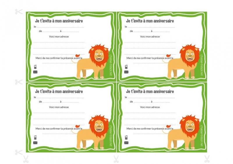 invitations a imprimer pour anniversaire jungle