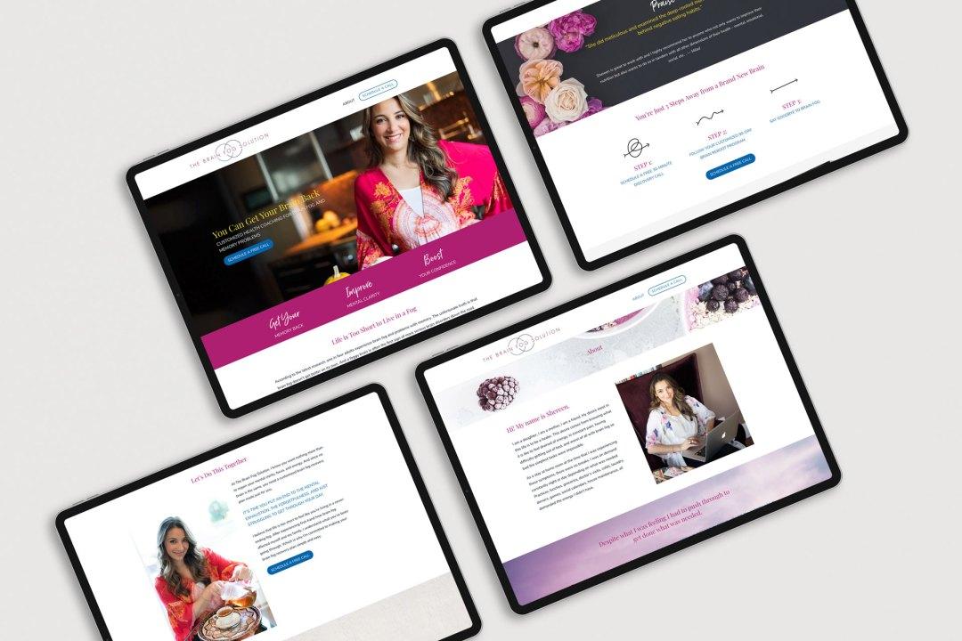 alternating website mockups on a light grey surface